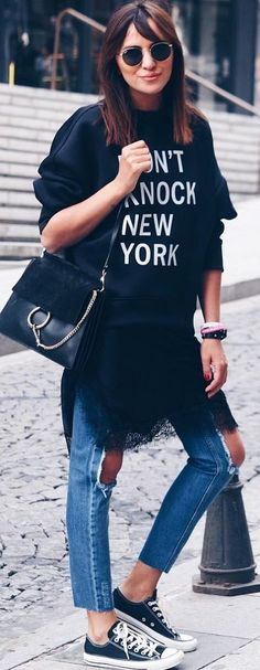 #spring #summer #street #style #outfitideas  Graphic Sweat + Ripped Denim + Sneakers