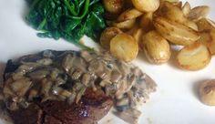 Hollandse pot: Biefstuk met champignonsaus, gebakken aardappeltjes en spinazie