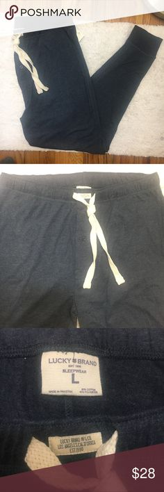 """Lucky Brand Blue Lounge Joggers Lightweight cotton blend joggers with contrast drawstring. Dropped rise for comfort wear around the house on to run errands. New with Tags  Size Large   Waist 35"""" relaxed (circumference) Seat 45"""" (circ.) Front rise 11 1/4"""" Back Rise 15""""  Inseam 29 1/2"""" Lucky Brand Pants Sweatpants & Joggers"""