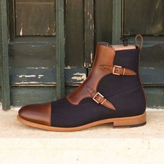 Handmade+Men's+Navy+Blue+Brown+Boot+Dress+Leather+Tweed+Cap+Toe+Lace+Up+Boots Description+ Condition+New+With+Box+ Style+High+Ankle Shoes+Upper+Material+Leather+Tweed Handmade+Dress+boots+ Stylish
