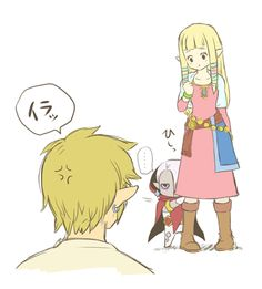 Chibi Ghirahim with Zelda and Link... No, I still don't trust him... Or his tongue *Shudders*