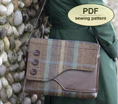 DESCRIPTION:  Please note: If you wish to make a few bags from Charlie's Aunt sewing patterns or books to sell, please read the rules in the additional information section of our policies page.  This is a PDF sewing pattern for The Brancaster Messenger Bag. Influenced by vintage fishermen's bags, this simple 1940s inspired messenger style features an asymmetrical flap and front pocket. The Brancaster Messenger Bag is a practical shape and size for all occasions and can be made in a variety…