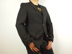 5b49156bc Hugo Boss blazer Black double line suit jacket Size Eur 98 S/M Model  ROSSELLINI