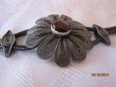 Handmade Silver Bracelet Red Agate Stone Fligree Flower by leylaks