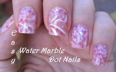 Water marble and dotting tool #nailart in pink and white - For more easy #naildesigns please subscribe: https://www.youtube.com/user/LifeWorldWomen