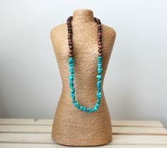 Turquoise Chip Necklace. Turquoise Magnesite Necklace. Boho Necklace. Gemstone Necklace. Zen Necklace. Gifts for her. Wooden Necklace. by SoulCentricJewelry on Etsy
