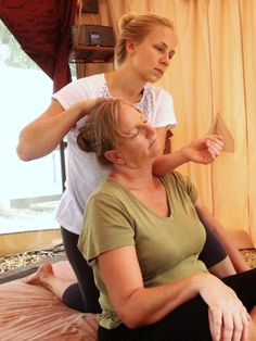In my opinion, being seated is the best orientation to get at those ever-tense upper trapezius (top of the shoulder) muscles.  It's always best to work with gravity, no?  With Thai Massage, aka Thai Yoga Massage, it is so easy to move the body into any orientation without having to worry about the complications of draping!