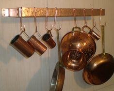 Vintage Copper Pot Rack Half Moon Wall Mount W 4 Hooks
