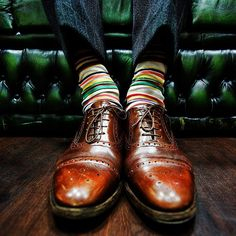 Brogues and a striped sock