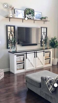 32 Amazing Elegant Furniture For Modern Farmhouse Living Room Decor Ideas. If you are looking for Elegant Furniture For Modern Farmhouse Living Room Decor Ideas, You come to the right place. Living Room Storage, Farmhouse Decor Living Room, Home Living Room, Modern Farmhouse Living Room Decor, Trendy Living Rooms, Living Room Tv Stand, Elegant Furniture, Apartment Decor, Modern Farmhouse Kitchens