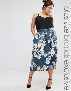 Closet+Plus+Hi+Lo+Sateen+Printed+Midi+Skirt