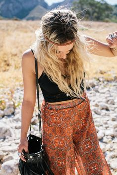 High waisted boho pants + sexy black crop. Cute hippie outfit by Amberli Jahn.