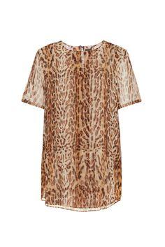 ADAM LIPPES Ocelot Print Chiffon T Shirt Size-inclusive designer luxury Plus-size fashion