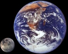 Earth-Moon size and distance - and Earth's radius is 6,378 km; Moon's is 1,737 km, 27.23% of the radius of Earth Earth's mass 5.974×1024 kg; Moon's is 7.35×1022 kg, 1.23% of the mass of Earth Earth's average density is 5.5 g/cm3; Moon's is 3.4 g/cm3, 61.82% of the average density of Earth.