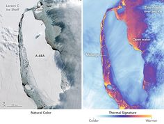 As the sun rises above the Antarctic horizon after the long, dark austral winter, scientists are getting a better look at the Delaware-size iceberg that sheared off from the frozen continent's Larsen… Earth's Best, Polar Night, Nasa Images, Out To Sea, Science Photos, Making Waves, Tonne, Photos Of The Week, Detailed Image
