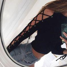 Zoe Criss-Cross Cut-Out Sleeve Top - Free Shipping! http://ss1.us/a/vJpbdtIK