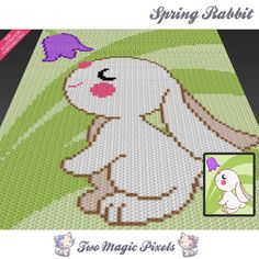 Spring Bunny is a graph pattern for a crochet baby blanket featuring a cute little rabbit sniffing a flower. This graph design is 80 squares wide by Bunny Crochet, Graph Crochet, Crochet Blanket Patterns, Baby Blanket Crochet, Graph Design, Bobble Stitch, Manta Crochet, Tapestry Crochet, Crochet Projects