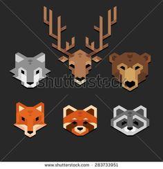 Stylized geometric animal heads (wolf, deer, bear, fox, red panda, raccoon) in clean minimalistic style.