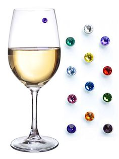 Swarovski Crystal Magnetic Drink Markers & Wine Charm Tags For Stemless Glasses, Beer Mugs, Champagne Flutes And More - Set Of 12, 2015 Amazon Top Rated Glassware & Drinkware #Kitchen