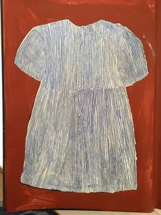 """From a series originally inspired by a Rachel Baes painting of a dress """"La Naissance d'un Secrete"""". Cold wax medium and oil in a sketchbook.  Child's dress. About 35cm x 23cm"""