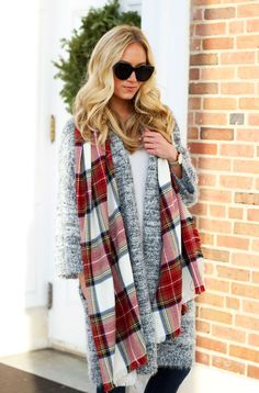 Stylecusp // Nordstrom Leith Fuzzy Cardigan with Plaid Scarf and black Vince Camuto Booties