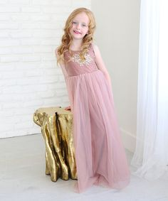 Look at this Rose Embroidered Tulle Sleeveless Gown - Infant, Toddler & Girls on #zulily today!