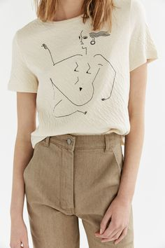 Product Details;Relaxed fit T-shirt with graphic print by artist Blanca Miro Skoudy in soft double faced cotton jersey. Material