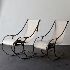 A pair of rocking chairs made during the century in England. Frame in metal and seat in thick white . Striped Upholstery Fabric, Upholstery Tacks, Upholstery Cushions, Furniture Upholstery, Upholstery Repair, Upholstery Cleaning, Furniture Stores, Cheap Furniture, Living Room Upholstery