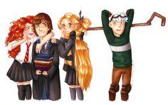 Merida, Hiccup, Rapunzel & Jack by Galiz Leblog [©2013]
