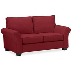 """Pottery Barn PB Comfort Roll Arm Upholstered Loveseat 67"""" (17.088.720 IDR) ❤ liked on Polyvore featuring home, furniture, sofas, garnet, upholstered loveseat, upholstery sofa, upholstery fabric sofa, slip cover sofa and upholstered couch"""