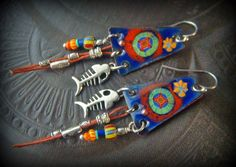Enameled Copper Earrings Orange Tribal Fish Leather von YuccaBloom