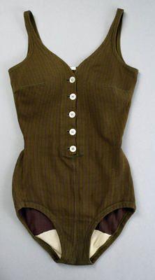 "The Met Museum Costume Institute:  1955 Swimwear Bathing Suit, Rudi Gernreich (American, born Austria, 1922–1985): 1956, American, wool, elastic.    Marking: [label] ""Rudi Gernreich design for/Westwood Knitting Mills"""