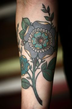 Geometric flower tattoos by Alice Carrier half healed/half fresh