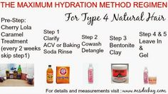 The Max Hydration Method is a 5-step routine that systematically boosts your hair moisture levels until Max Hydration is reached. This method destroys the MYTH that wash-n-go styles don't work on type 4 hair. The method works great on other types of hair as well.