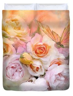 Summer Roses decorator Duvet Cover featuring the art of Carol Cavalaris. Design is also available on a matching pillow, as well as a fine art print.
