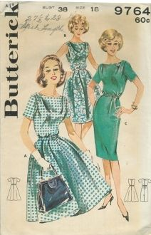 An original ca. 1960's Butterick Pattern  9764.  (A) Dress with softly tucked shoulders, shallow neck, set in short sleeves, front pleated flared skirt, self belt.  (B)  Sleeveless version ( C) Eased sheath version with short sleeves.