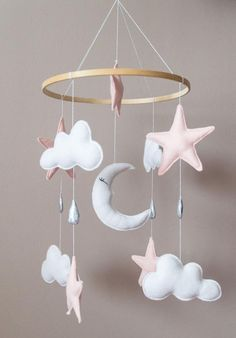 Cot mobile Mobile nursery Sky mobile Moon hanging mobile Baby shower gift Stars and clouds Pink baby mobile Night sky Pastel baby crib Mobile nursery moon hanging mobile gift for baby shower gender