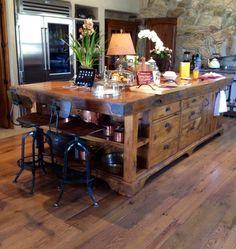 Reclaimed Granary Board Center Island | Porter Barn Wood