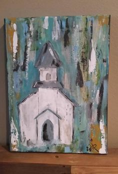 church items 18 x 18 rustic church acrylic painting on canvas Look how cute this painting of this church turned out! It was done without using any paint brushes and only using paint spatu Acrylic Painting Canvas, Canvas Wall Art, Painting & Drawing, Watercolor Paintings, Farmhouse Paintings, Pallet Art, Cross Paintings, Christmas Paintings, Learn To Paint