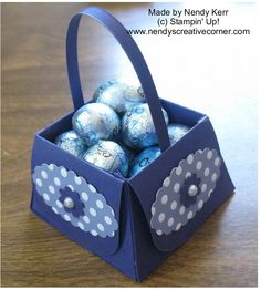 Make this cute little Basket using the Petite Purse Bigz die from Stampin' Up! Embellish with some DSP and punches.