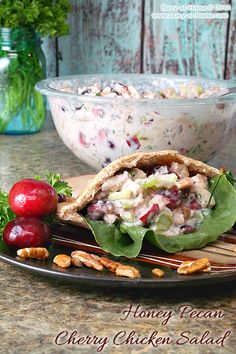 Honey Pecan Cherry Chicken Salad _ Serve stuffed into whole grain pita pockets with romaine lettuce.