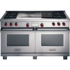 "Wolf DF604CF 60"" Dual Fuel Range with 4 Sealed Burners, Infrared Charbroiler & French Top"