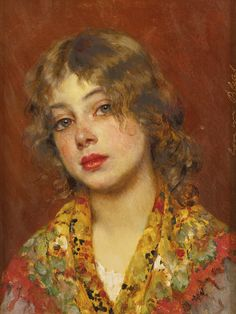 EUGEN VON BLAAS 1843 - 1931 GYPSY GIRL inscribed Eugen von Blaas (upper right edge) oil on panel 10 3/4 by 8 1/4 in
