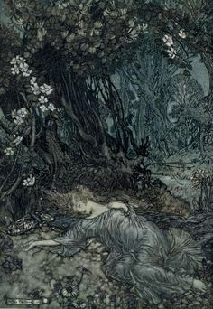 """sealmaiden: Illustration for """"A Midsummer Night's Dream"""" by William Shakespeare Illustrated by Arthur Rackham, published 1914"""