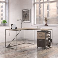 Carbon Loft Plimpton Industrial Desk with Return and Mobile File Cabinet in Rustic Grey, Gray, Bush Furniture File Cabinet Desk, Mobile File Cabinet, Cheap Office Furniture, Carbon Loft, Desk Furniture, Industrial Desk, Filing Cabinet, Bush Furniture, Furniture