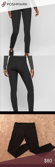 """ATHLETA STEALTH BLACK TIGHT, LIKE NEW (WORN ONCE) ATHLETA 7/8 length black, stealth tight with sculptek technology. These hold you in better than any tights I've ever worn, even lulu lemon in my opinion. High waisted. 2 side pockets. Zippers on each leg. Very comfortable. Great material. 70% nylon, 30% spandex. Worn and washed once. Absolutely no flaws. Paid $108 plus tax. You can also dress these up and wear as leggings with heels. 27"""" inseam.   BUNDLE 2 OR MORE ITEMS AND SAVE 10% Athleta…"""