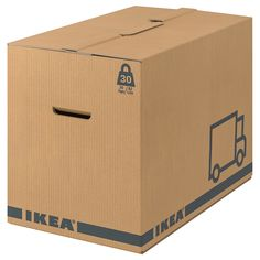 IKEA - JÄTTENE, Packaging box, brown, A sturdy, stackable box made of cardboard which you can easily fold together and use again. Cut-out handles on two sides make it easier to lift and carry the box. Pax Planner, Moving Supplies, Ikea Usa, Bed Frame With Storage, Ikea Family, Moving Boxes, Clothes Rail, Packaging, Colors