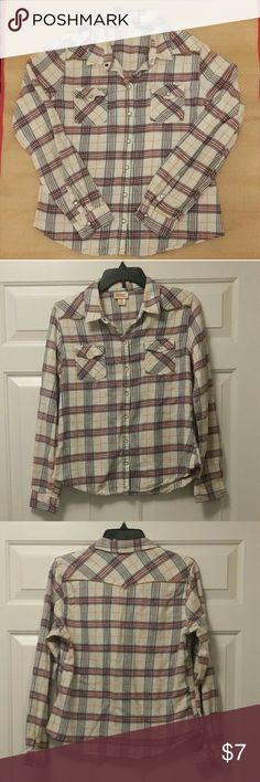 Pretty Plaid Flannel Shirt Multi-colored button down shirt  Cute pearl colored buttons snap close Two front functioning pockets  Shows signs of normal wash and wear such as slight pilling- see pictures  Size XL  100% Cotton  No visible stains, rips or tears  Pet-free, pest-free, non-smoking home Mossimo Supply Co. Tops Button Down Shirts