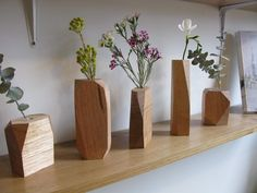 Stämpel faceted wooden vases