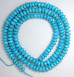 "Sleeping Beauty Turquoise Graduated Rondelle 5.1 to 5.5mmm Beads 18"" Std # S2 #SleepingBeauty #Southwest"